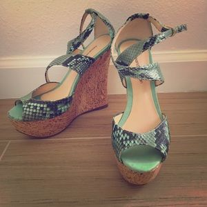 Alexandre Birman Snakeskin Cork Wedges